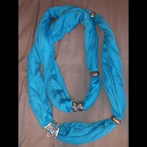 Blue Scarf with jewelry pendant bead
